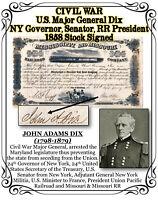 CIVIL WAR Major Gen. Dix , NY Gov., Senator, RR President Signed 1858 Stock Cert
