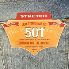 Levis 501 Jeans Original  New Mens Size 33 x 32 MED BLUE WITH STRETCH Levi's NWT