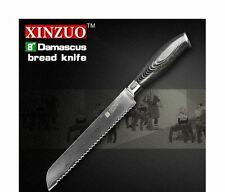 Meat Frozen Poultry Damascus Steel Quality Sharp Serrated Chef Knife Cook Bread
