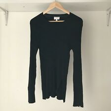 Witchery Womens Black Knitted Textured Stretch Top Jumper, AU Size 14 / Large