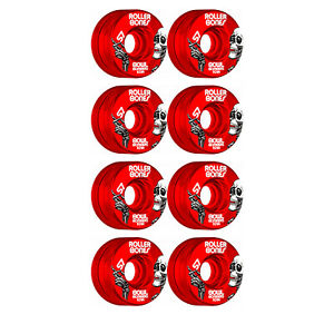 Rollerbones Quad Skate Wheels 57mm x 30mm Bowl Bombers 8-Pack 101A Red