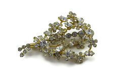 Clear Rhinestone Gold Brooch Made in Austria Pin Spray Crystal Glass Scarf  Clip
