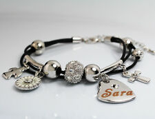 Genuine Braided Leather Charm Bracelet With Name - SARA - Gifts for her