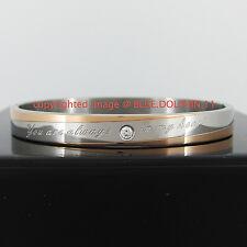 Real Solid 18k Rose White Gold GF Simulated Diamonds Oval Bangle Bracelet Band