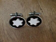 Mens Silver Plated Hexagram Cufflinks -  New With Presentation  Box