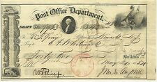 Post Office Dept. Draft/Check May 21, 1854 Newark, N.J. #7953 rare ephemera #