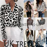 UK Women Leopard Print Long Sleeve Shirt Tops Ladies Loose Blouse Plus Size 6-18