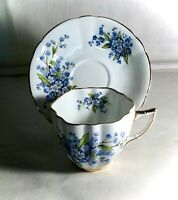 Coronation Bone China Blue Floral Pattern Cup And Saucer