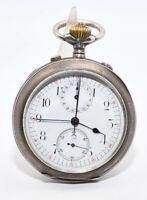 Alte Taschenuhr mit Stoppfunktion / Chronograph Rattrapante 935 Silber Stoppuhr