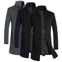 Men's Long Collar Coat Wool Trench Single Breasted Slim Fit Overcoat Stand New