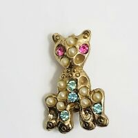 Vintage Seed Pearl Kitty Cat Brooch Small Rhinestone Pin
