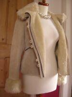 Ladies NEXT cream suede leather JACKET COAT hoody UK 14 16 faux fur sheepskin