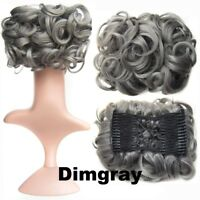 Wavy Curly Combs Clip In Hair Bun Chignon Piece Up-do Cover Hair Extension GO9Z