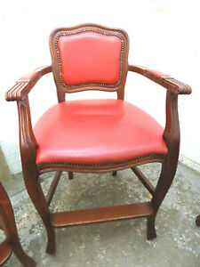 stool,vintage,high back,wooden,red,leather,bar stool,cabriole legs,arms