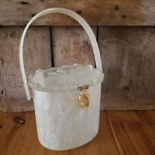 RIALTO NY Vintage Mother of Pearl/Marble Look Lucite Handbag Round signed