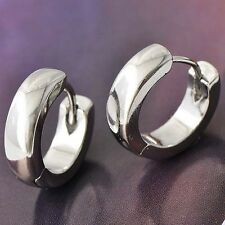 Mens Punk Hip Hop Earrings White Gold Silver Filled Hoop Ear Stud 13mm