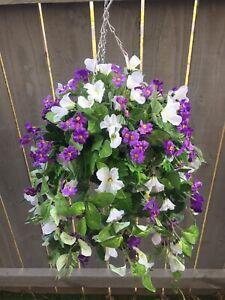 Beautiful Artificial  Purple /white Trailing Hanging Basket