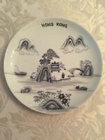 Vtg OVERJOY PORCELAIN Black And Gray Chinese HAND PAINTED PLATE HONG KONG
