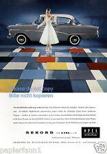 Opel Rekord Reklame von 1958 Werbung Dame Braut Kleid Brautkleid bunt ad