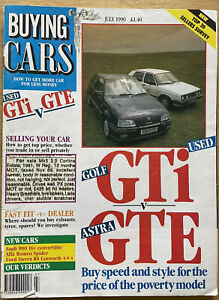 BUYING CARS-JULY 1990 inc FORD SIERRA RS COSWORTH 4 x 4 + ALFA ROMEO SPIDER