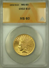 1932 Indian Gold Eagle $10 Coin ANACS MS-60