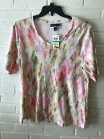 New Karen Scott Woman's V Neck Short Sleeve Knit Top Multi-Color Plus Size 0X T6