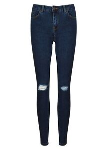 New Look Ladies Skinny Busted Ripped Knee Jeans Blue Sizes 6-10