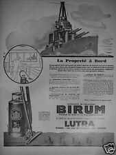 PUBLICITÉ 1927 ASPIRATEUR DE POUSSIÈRES BIRUM LUTRA - VAISSEAU - ADVERTISING