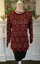 X•E•S--NY size S crocheted embellished wine sweater gold bangles festive