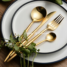 16pcs Stainless Steel 18/10 Japanese Gold Cutlery Dinnerware Set Dishwash Safe