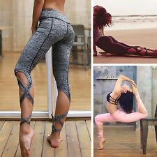 Women YOGA Running Sport Pants High Waist Workout Leggings Fitness Trousers AA