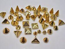 100 Assorted Golden Metallic Acrylic Rock Punk Spike Taper Stud Beads