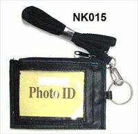 Black Leather THIN ID CARD Holder Neck Travel Pouch Wallet With Key Ring