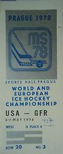 TICKET Eishockey WM 3.5.1978 USA - Deutschland in Prag
