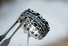 Or Paz Sterling Silver Blue Topaz Meditation Spinner Ring Sz 9