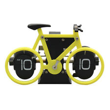 Stainless Steel Bicycle Flip Down Desk Clock Travel Clock Table Decor Yellow