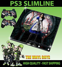 PLAYSTATION PS3 SLIM STICKER ALICE MADNESS RETURNS WONDERLAND SKIN & 2 PAD SKIN