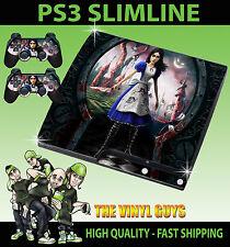 PLAYSTATION PS3 SLIM STICKER ALICE MADNESS RETURNS WONDERLAND SKIN & 2 PAD SKIN