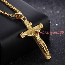 Cross Pendant Necklace Women Men Chain Hot Gold Stainless Steel Jesus Crucifix