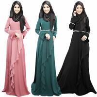 Womens Kaftan Cocktail Long Maxi Dress Dubai Arab Muslim Islam Jilbab Abaya Robe
