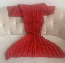 Girls Mermaid Tail Blanket Crochet, Red