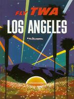 Vintage David Klein TWA Poster Los Angeles Hollywood Bowl Mid Century Modern