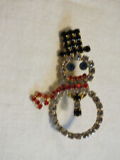Holiday Brooch Pin Gold Tone Snowman Filled Sparkling Rhinestones Dangling Scarf