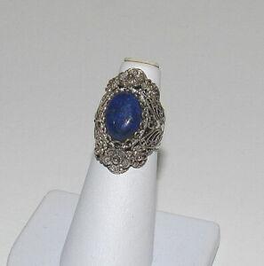 Vintage DGS Sterling Silver Gold Fleck Lapis Lazuli Telkari Filigree Ring Size 6