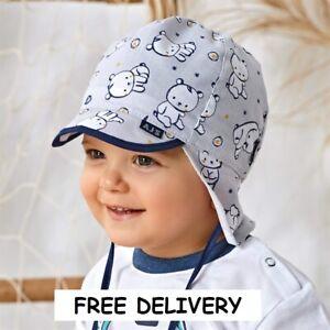 100% Cotton summer boys bonnet sun HAT 9-24 months BABY CAP neck protection