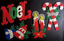 Christmas Melted Plastic Popcorn Decoration 4 Vtg Noel Candy Cane Candle Bell Lg