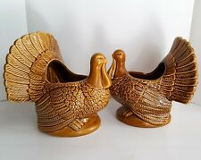 Lot of 2 Large Vintage Thanksgiving Ceramic Turkey Planter Tureen Table Decor
