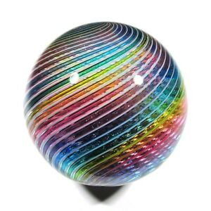 """Hot House Glass Dichroic banded swirl marble 1.74"""" 44mm #983"""
