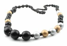 Zest Chunky Bead Necklace Black, Gold and Silver