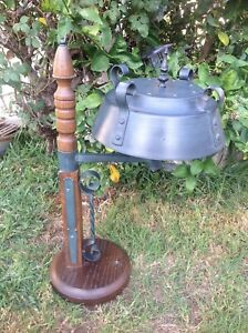 Vintage Wrought Iron Wooden Gothic / Industrial Table Lamp Style